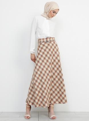 Orange - Beige - Plaid - Unlined - Viscose - Skirt
