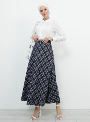Purple - Plaid - Unlined - Viscose - Skirt