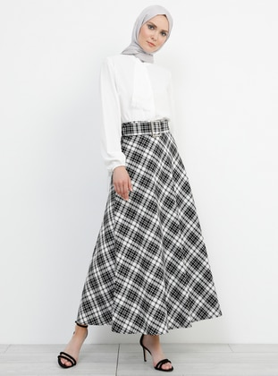 Black - Ecru - Plaid - Unlined - Viscose - Skirt