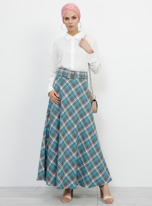 Turquoise - Plaid - Unlined - Viscose - Skirt