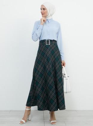 Green - Plaid - Unlined - Viscose - Skirt