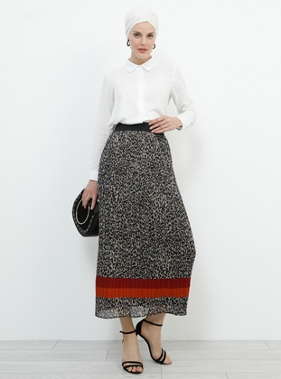 Black - Brown - Leopard - Fully Lined - Skirt