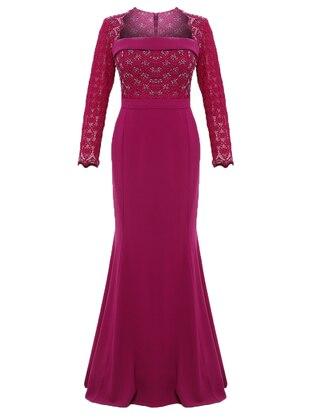 Plum - Fully Lined - Sweatheart Neckline - Muslim Evening Dress