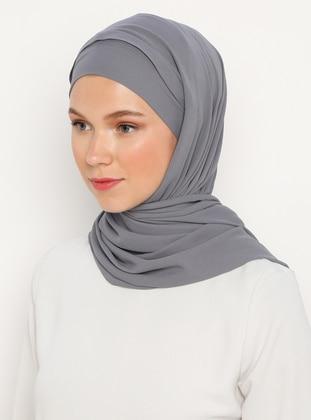 Gray - Plain - Instant Scarf