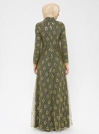 Khaki - Fully Lined - Crew neck - Muslim Evening Dress