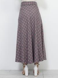 Pink - Gray - Plaid - Unlined - Viscose - Skirt