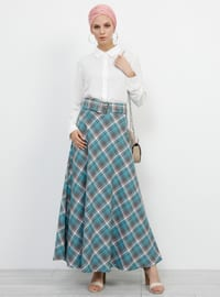 Turquoise - Plaid - Unlined - Viscose - Skirt