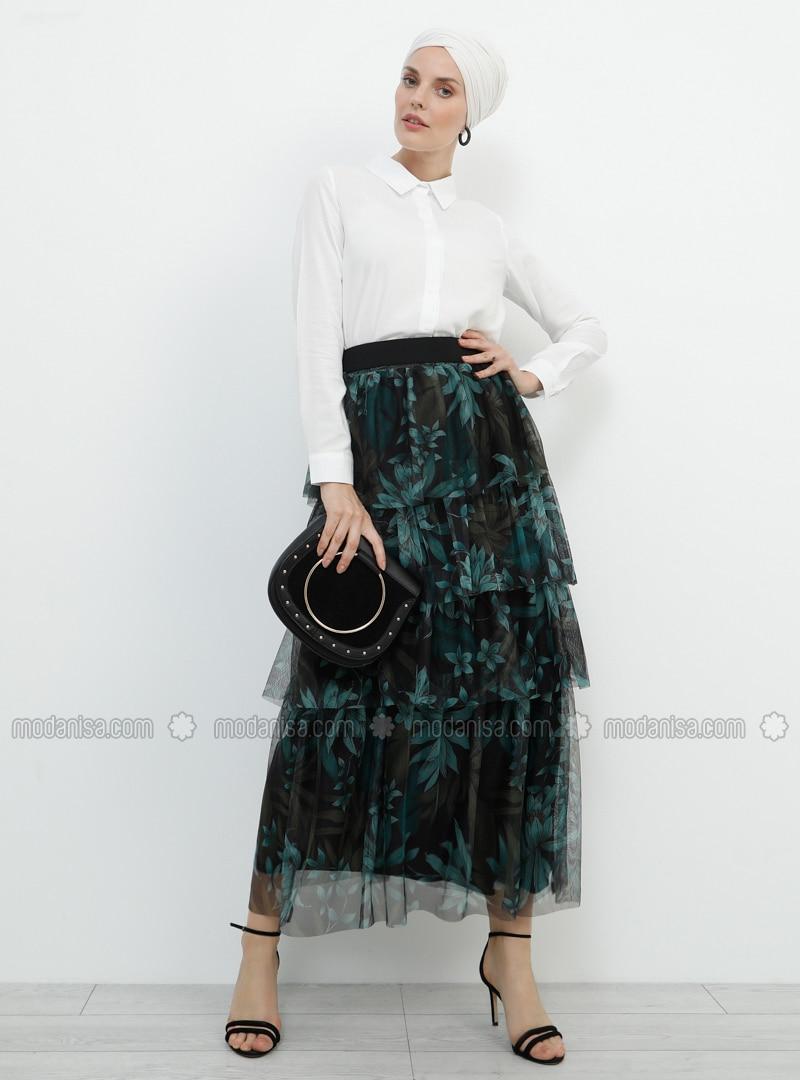 f3f70001c4 Black - Khaki - Multi - Fully Lined - Viscose - Skirt. Fotoğrafı büyütmek  için tıklayın