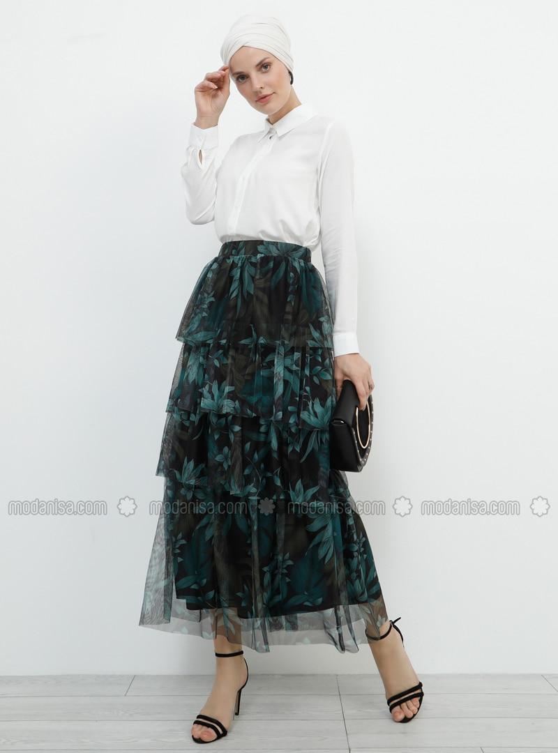 37f2f89c42 Black - Khaki - Multi - Fully Lined - Viscose - Skirt