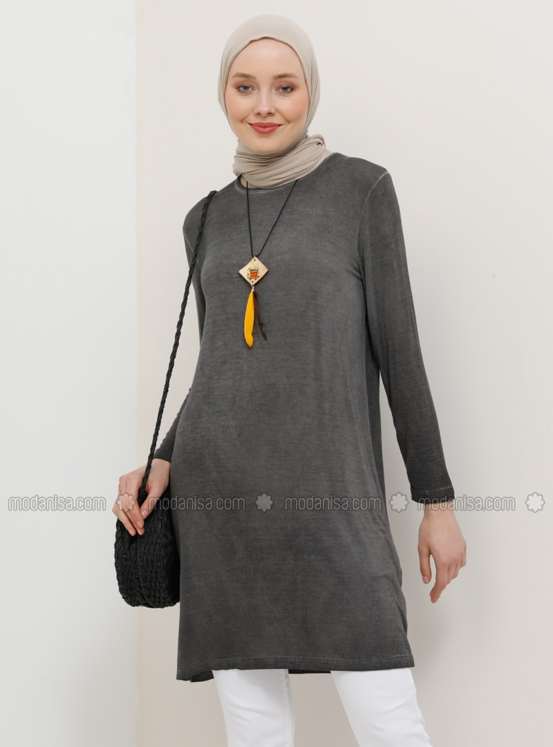 Smoke - Crew neck - Viscose - Tunic