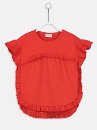 Red - Crew neck - Girls` T-Shirt