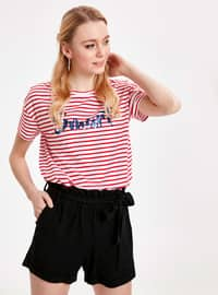 Red - Stripe - Crew neck - T-Shirt