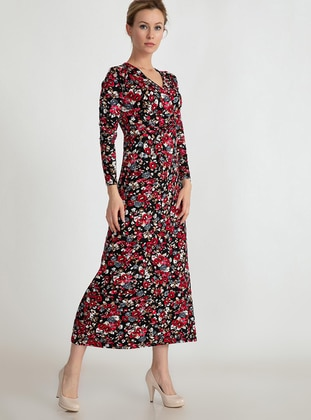 Red - Multi - Floral - Dress