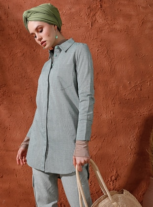Khaki - Point Collar - Cotton - Tunic