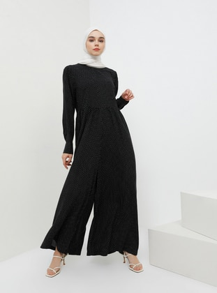 Black - Polka Dot - Unlined - Crew neck - Viscose - Jumpsuit