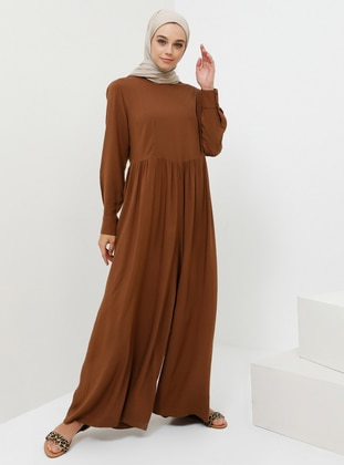 Brown - Unlined - Crew neck - Viscose - Jumpsuit