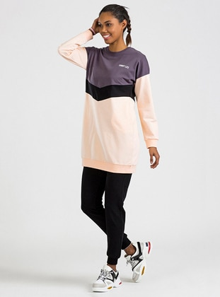 Purple - Salmon - Crew neck - Tracksuit Top