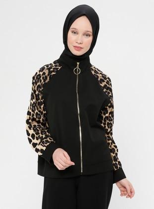 Black - Brown - Leopard - Unlined - Polo neck - Jacket