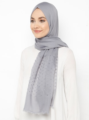 Silver tone - Plain - Cotton - Shawl