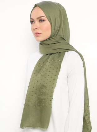 Khaki - Plain - Cotton - Shawl