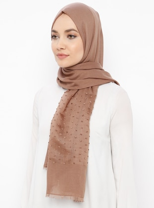 Brown - Minc - Plain - Cotton - Shawl