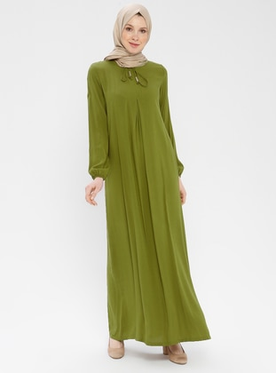 Green - Olive Green - Unlined - Viscose - Dress