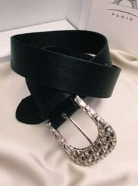 Black - Silver tone - Belt
