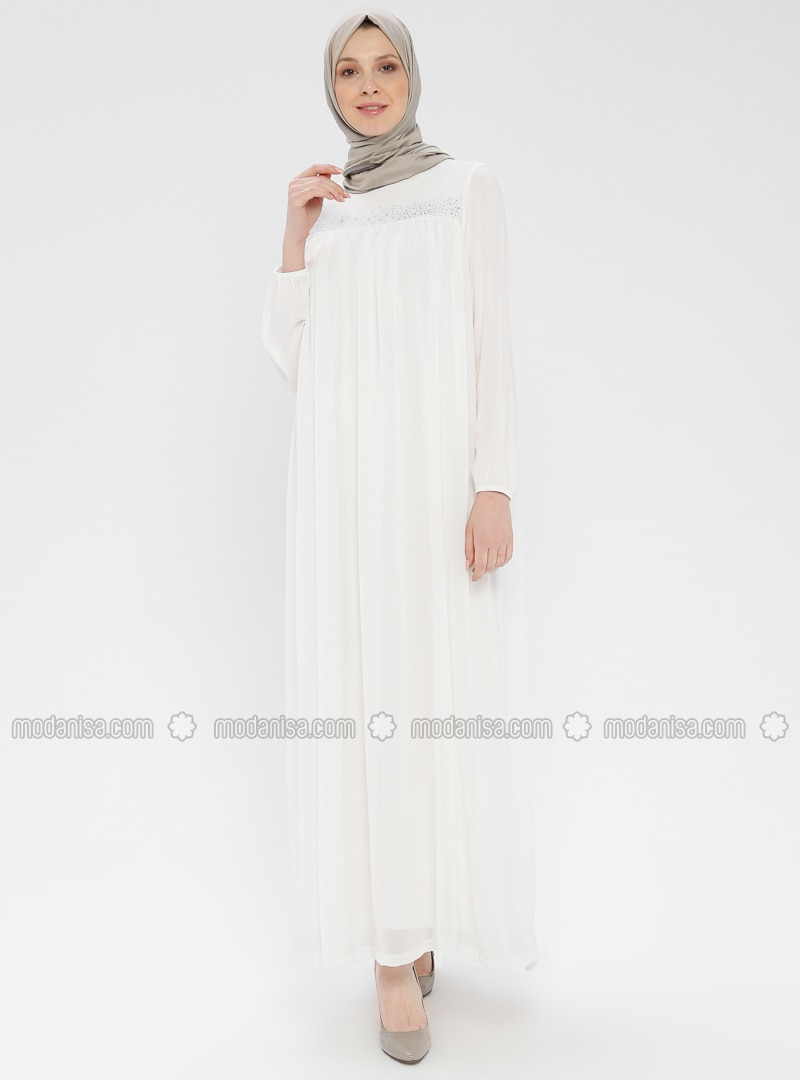 White - Ecru - Crew neck - Unlined - Viscose - Dress