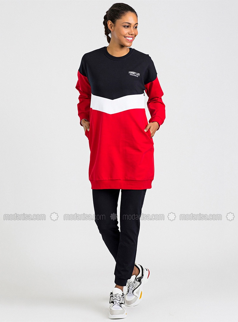 Red - Navy Blue - Crew neck - Tracksuit Set