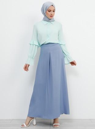 Blue - Indigo - Unlined - Viscose - Skirt