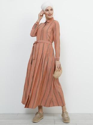 - Stripe - Point Collar - Unlined - Cotton - Dress