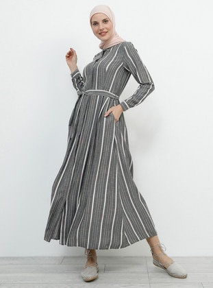 a104683afdcf3 Green - Stripe - Point Collar - Unlined - Cotton - Dress