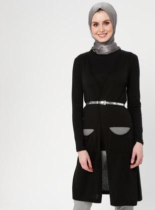 Black - Unlined - Shawl Collar -  - Vest