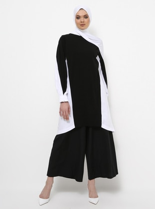 Black - Ecru - Crew neck - Cotton - Tunic