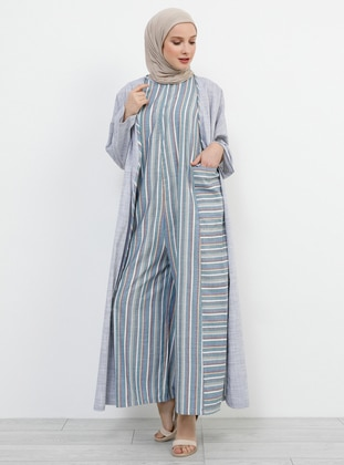 Green - Stripe - Unlined - Crew neck - Cotton - Jumpsuit