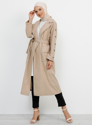 Mink - Unlined - Shawl Collar - Cotton - Trench Coat - Refka
