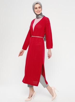Fuchsia - Ethnic - Shawl Collar - Acrylic -  - Cardigan