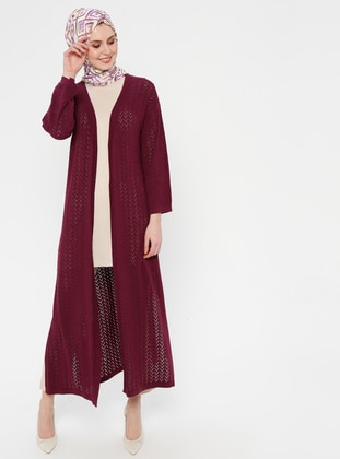 Plum - Ethnic - Shawl Collar - Acrylic -  - Cardigan