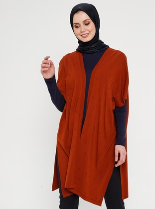 Terra Cotta - Unlined - Shawl Collar - Acrylic -  - Vest