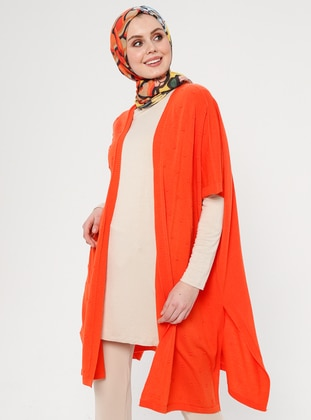 Orange - Unlined - Shawl Collar - Acrylic -  - Vest