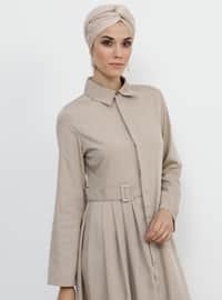 Black - Point Collar - Unlined - Modal - Dress