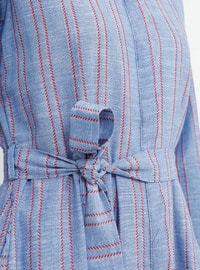 Blue - Navy Blue - Stripe - Point Collar - Unlined - Cotton - Dress