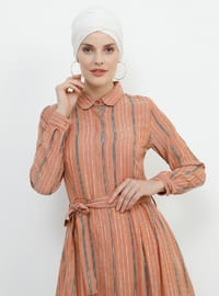 - Stripe - Point Collar - Unlined - Cotton - Dress