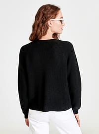 Black - V neck Collar - Cardigan