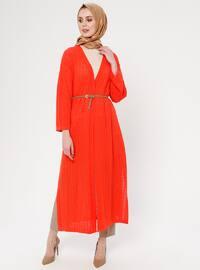 Orange - Ethnic - Shawl Collar - Acrylic -  - Cardigan