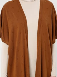 Brown - Unlined - Shawl Collar - Acrylic -  - Vest