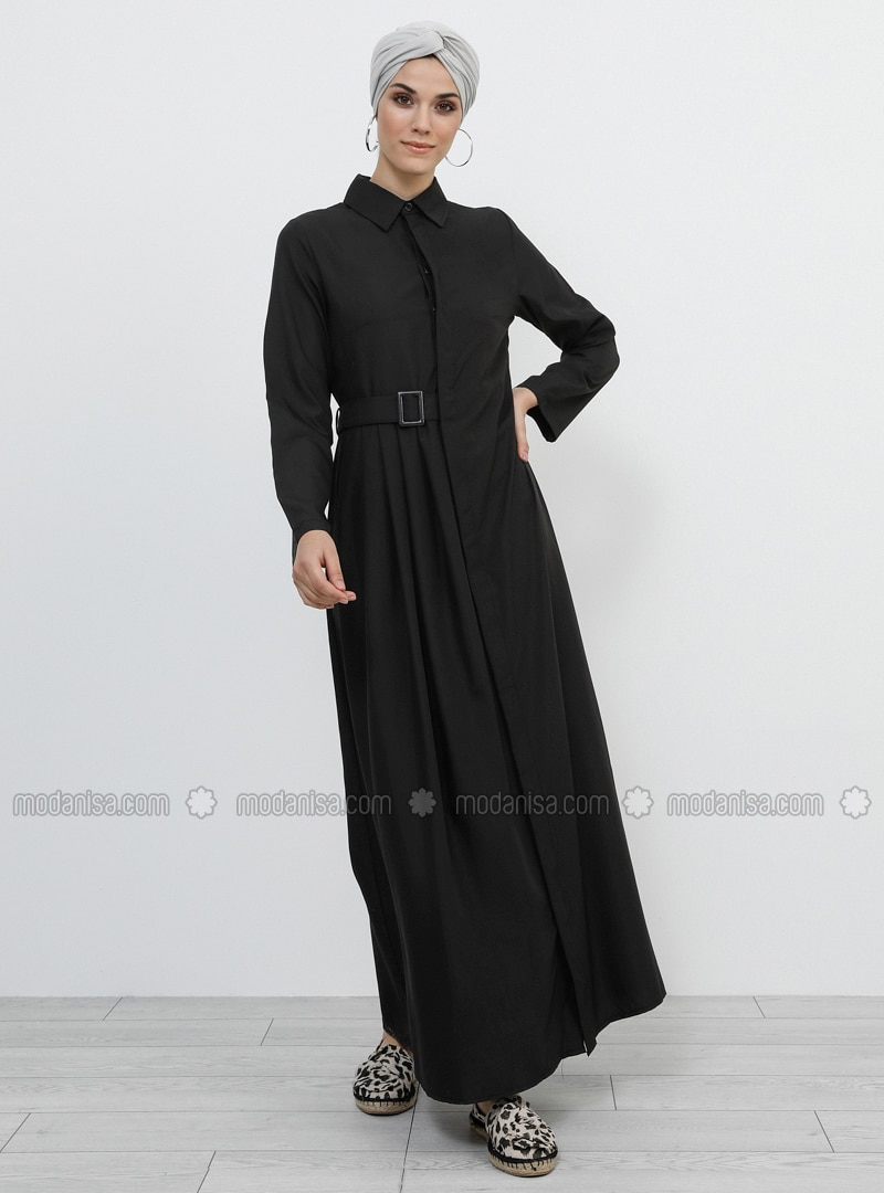 Black - Point Collar - Unlined - Modal - Dress