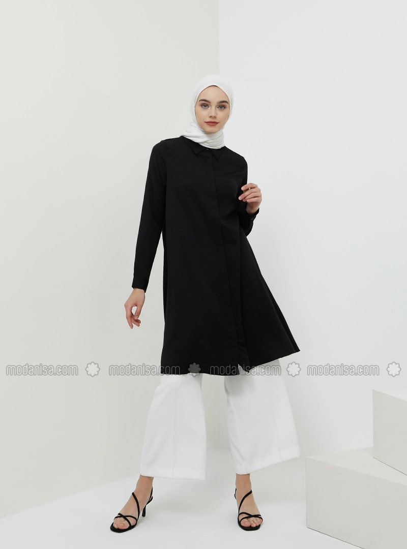 Black - Point Collar - Cotton - Viscose - Tunic