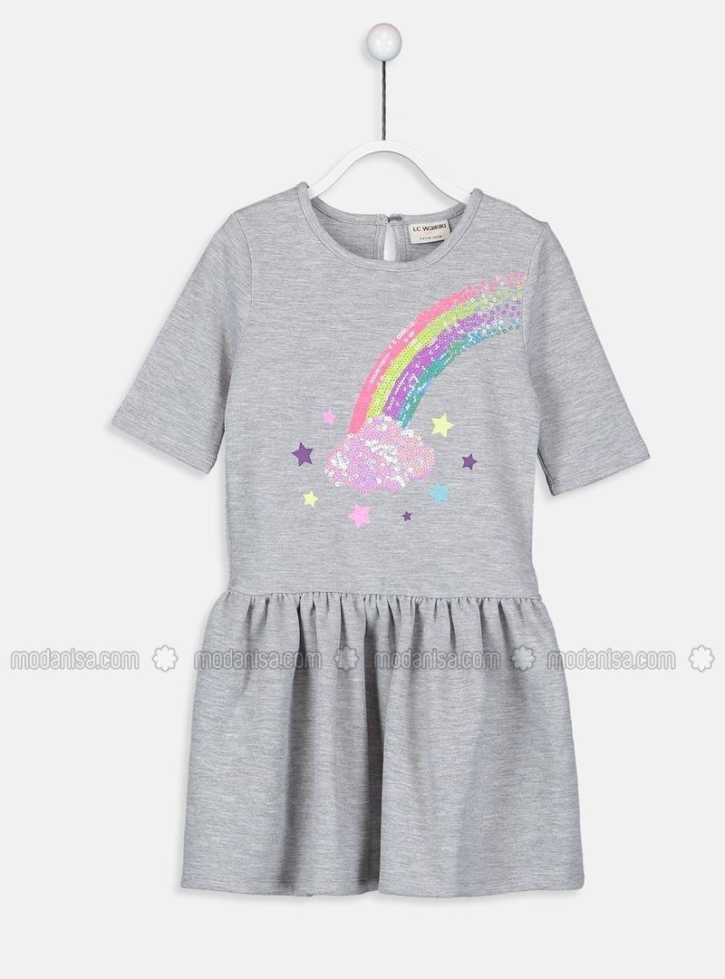 Gray - Printed - Girls` Dress