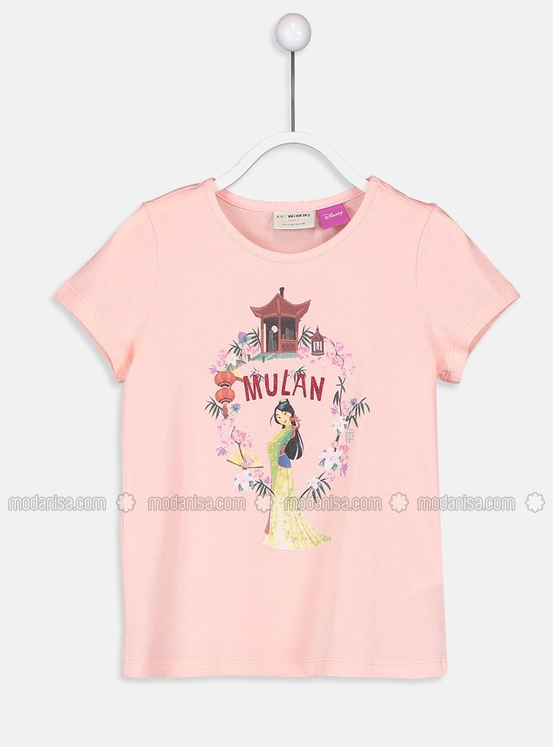 Pink - Crew neck - Girls` T-Shirt